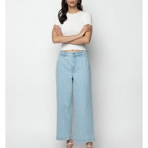 Wide leg medium wash jeans